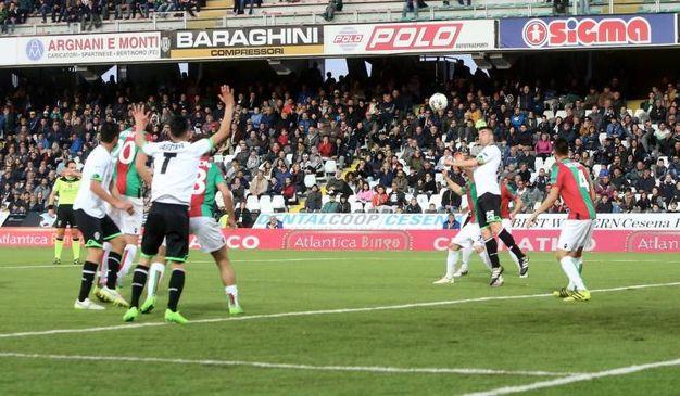I giocatori del Cesena chiedono rigore (foro Ravaglia)