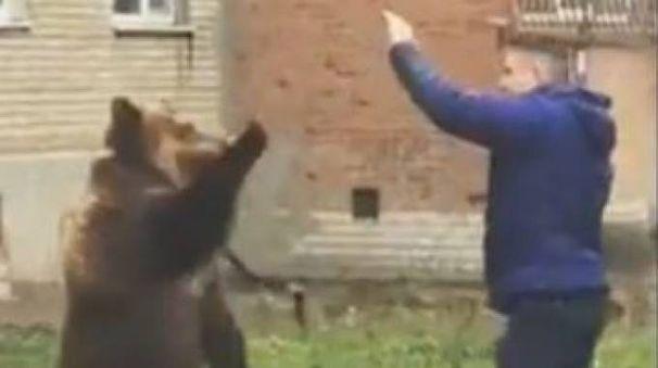 Un uomo con un orso al guinzaglio a Taganrog (da youtube)