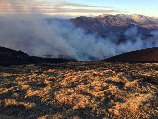 La conferenza stampa della Forestale e le immagini della montagna quando bruciava (Foto Quartieri)