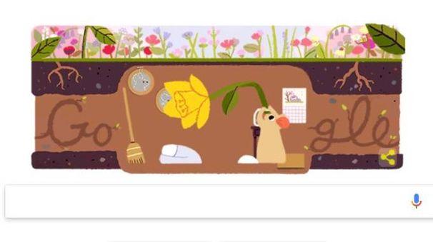 Il topino di Google che festeggia l'equinozio di primavera