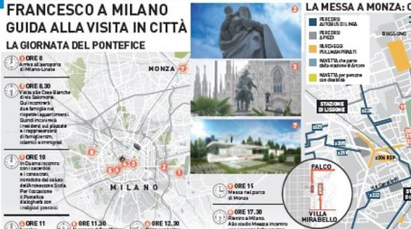 La mappa alla visita del Papa