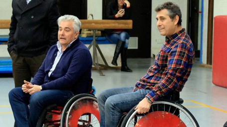Empoli Basket in carrozzina al liceo Pontormo Ivano Nuti. Foto Gianni Nucci/Fotocronache