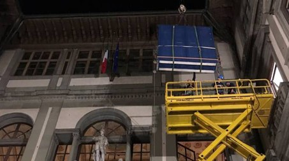 L'arrivo dell'Adorazione dei Magi di Leonardo agli Uffizi (Ansa)