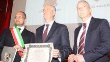 Il sindaco Guido Castelli, il prefetto Franco Gabrielli e il questore Mario Della Cioppa (foto La Bolognese)
