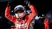Formula 1, Ferrari, l'esultanza di Sebastian Vettel (Ansa)