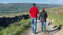 Una coppia cammina in campagna (foto Olycom)