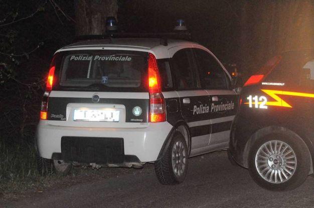 L'auto delle guardie provinciali che hanno fermato Igor il russo per un controllo (Foto Businesspress)
