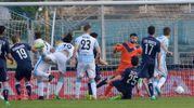 Il gol dell'1-3 di Mora (foto LaPresse)