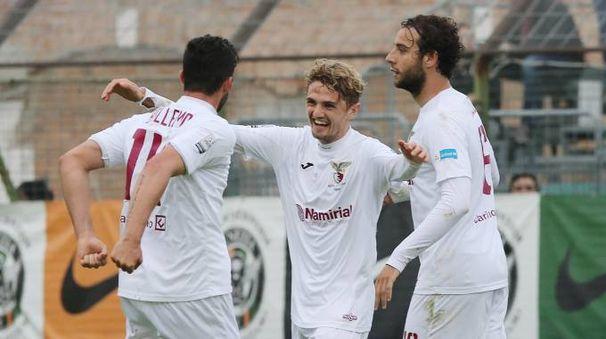 Esultanza dopo il gol di Lorenzo Capezzani