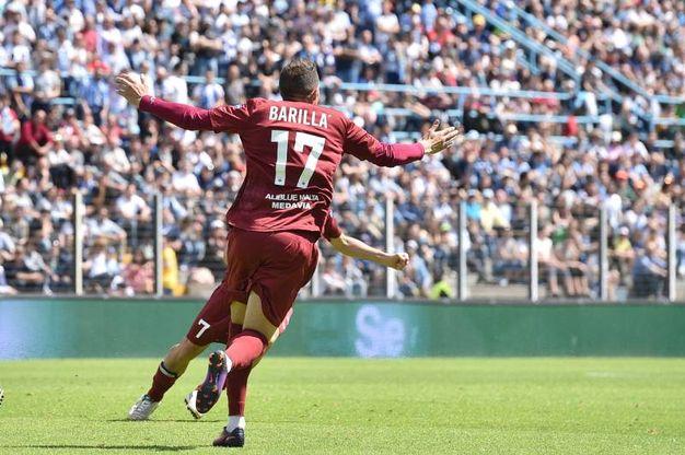 L'esultanza di Barilla dopo il gol (LaPresse)