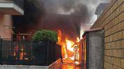 Le fiamme sono alte nonostante la pioggia battente (foto Zeppilli)
