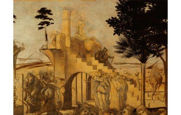 Dettagli dell'Adorazione dei Magi di Leonardo Da Vinci prima e dopo il restauro