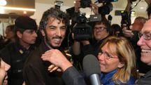 Gabriele Del Grande all'aeroporto di Bologna
