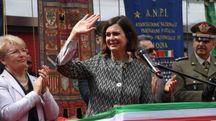 Laura Boldrini in piazza Nettuno a Bologna (foto Schicchi)