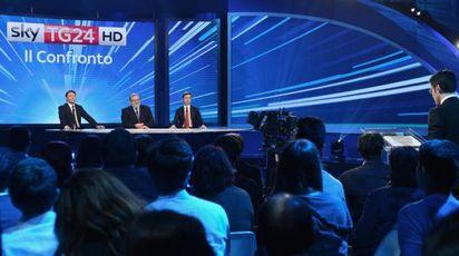 I tre candidati alla segreteria del Pd a Skytg24 (Ansa)