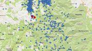 La sismicità dal 1 gennaio 2017. In rosso gli epicentri del terremoto del 27 aprile (Ingv)
