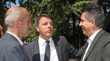 Marco Raccagna, l'ex premier Matteo Renzi e il sindaco Daniele Manca