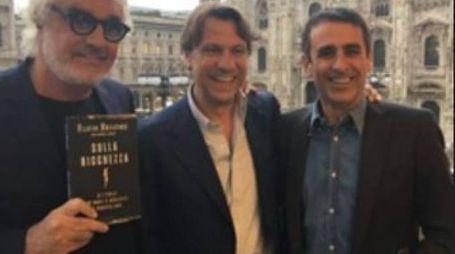 Briatore, Nicola Porro e Carmelo Abbate Sopra, alla presentazione del libro Elisabetta Gregoraci e il figlio Nathan Falco
