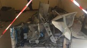 Il bancomat Carifano di Saltara distrutto dall'eplosione