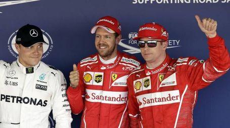 Valtteri Bottas, Sebastian Vettel e Kimi Raikkonen (Ansa)
