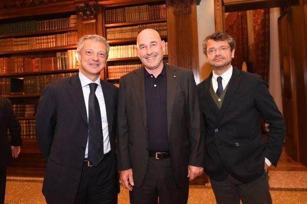 Alessandro Bonfiglioli, Andrea Riffeser Monti e Andrea Segrè (foto Schicchi)