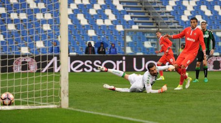 Sassuolo-Fiorentina, il gol di Bernardeschi (LaPresse)