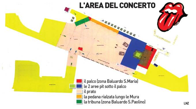 Rolling Stones a Lucca, l'area del concerto