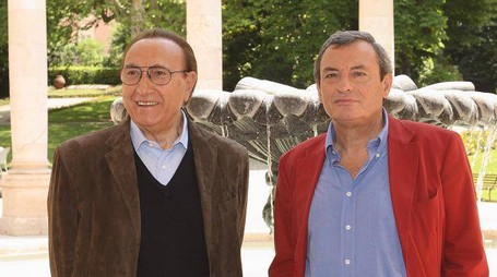 Pippo Baudo (a sinistra) e Oliviero Beha alle Terme Tettuccio