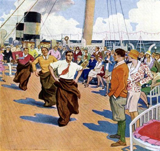 Vignette pubblicitarie illustrano i giochi a bordo, disegni di Marcello Dudovich, 1927: la corsa del sacco