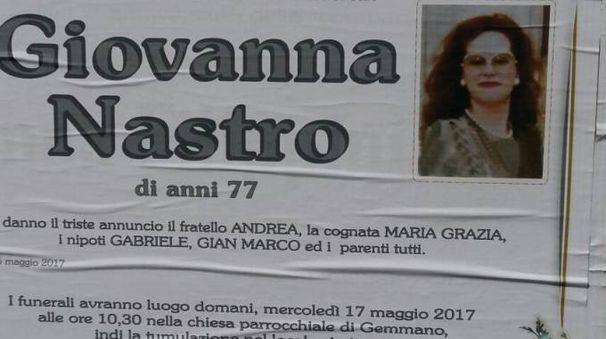 Il manifesto funebre di Giovanna Nastro