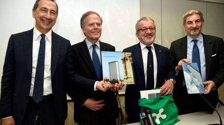 Giuseppe Sala, Enzo Moavero Milanesi, Roberto Maroni e Raffaele Cattaneo (Newpress)