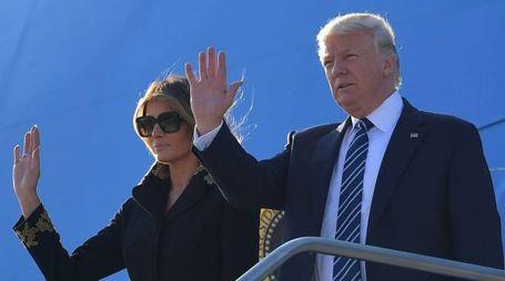Donald e Melania Trump a Roma (Afp)