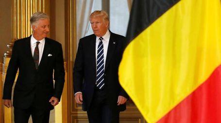 Trump con il re del Belgio Filippo