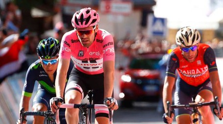Giro d'Italia 2017: Tom Dumoulin, Nairo Quintana e Vincenzo Nibali (foto Afp)