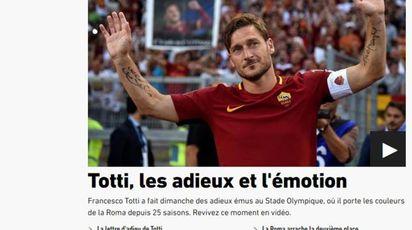 L'Equipe online celebra Totti dopo il ritiro (Ansa)