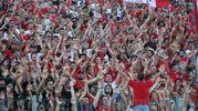 Un momento della partita: i tifosi del Perugia