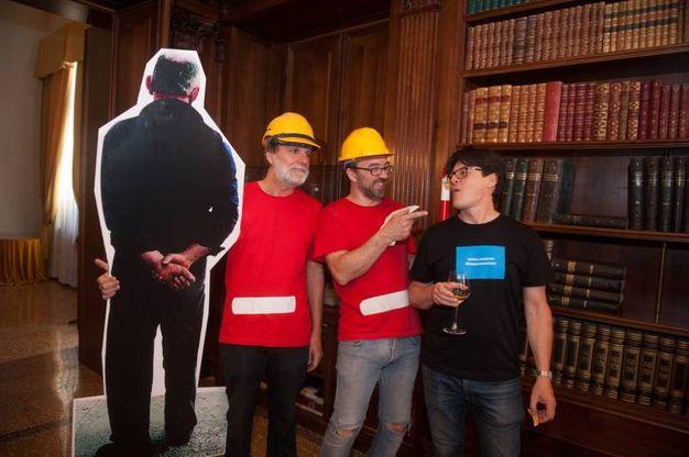 Claudio Mazzanti di Loop srl, Gino Fienga di con-fine Art e l'art director Patrizio Ansaloni (foto Schicchi)