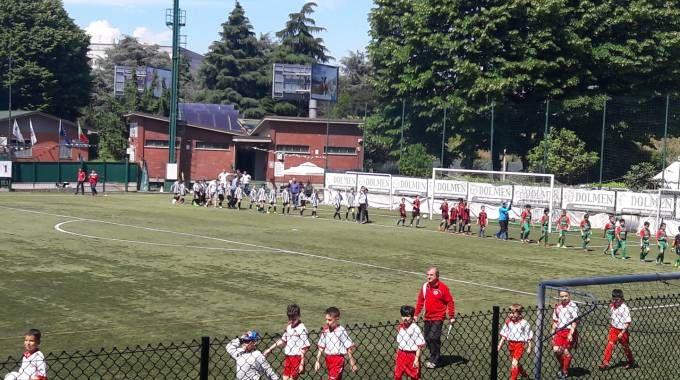 """La sfilata di """"pulcini"""" prima di un torneo a Milano"""