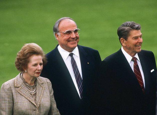Margaret Thatcher, Helmut Kohl e Ronald Reagan (Ansa)