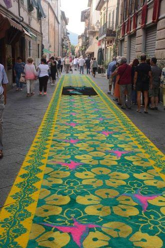 Camaiore, i tappeti di segatura: fuori Porta Lombricese (foto Aldo Umicini)