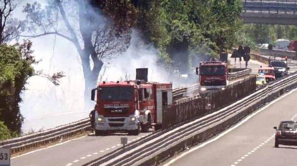 L'incendio sulla Variante Aurelia (foto Umicini)