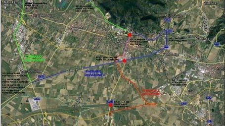 La cartina che indica i ponti dove ci saranno modifiche alla viabilità