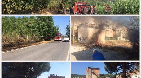 I cinque incendi nei quali sono intervenuti anche i volontari