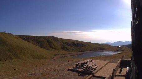 Un'immagine catturata dalla nuova webcam del Lago Scaffaiolo