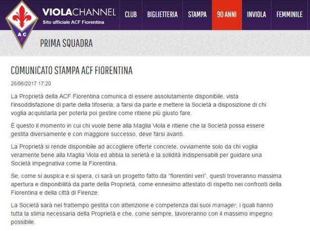 Il comunicato apparso sul sito della Fiorentina