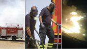 Tre immagini dell'incendio alla discarica