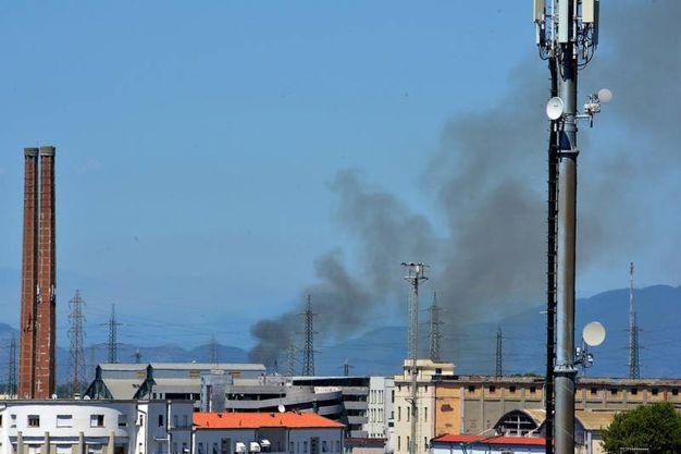 La colonna di fumo (Foto Lanari)