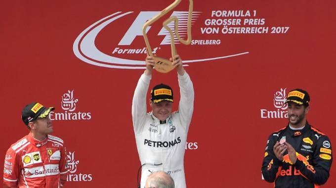 Bottas, Vettel e Ricciardo sul podio del Gp d'Austria 2017 (Afp)