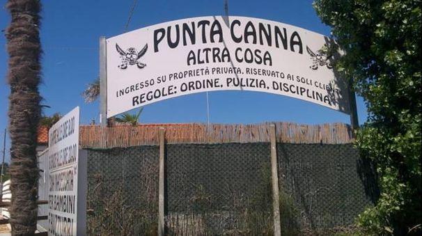 """L' ingresso del lido """"Punta Canna"""" sul litorale di Chioggia (Ansa)"""