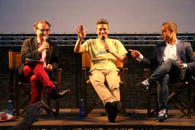 Pif con Christian Castorri e Gian Luca Farinelli (foto Ravaglia)